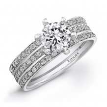14k White Gold Micro Prong Split Shank Diamond Semi Mount Engagement Ring