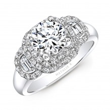 18k White Gold Diamond Half Moon Baguette Diamond Engagement Ring