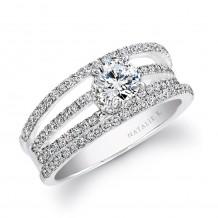 18k White Gold Split Shank Pave Diamond Semi Mount Engagement Ring
