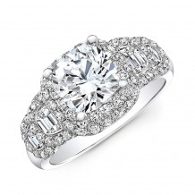 18k White Gold Diamond Half Moon Baguette Diamond Ribbon Engagement Ring