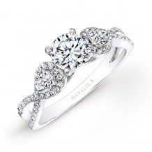 14k White Gold White Diamond Twisted Shank Engagement Ring with Pear Shaped Side Stones