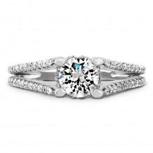 14k White Gold Raised Shank Diamond Engagement Semi Mount Ring
