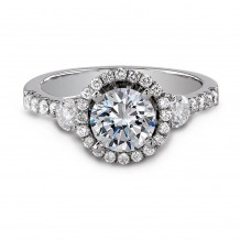18k White Gold Elegant Halo Diamond Engagement Ring