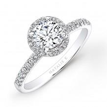 18k White Gold Pave Halo Diamond Engagement Ring