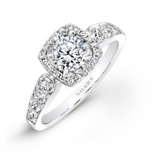 18k White Gold Pave Square Halo Diamond Engagement Ring