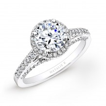 14k White Gold Prong and Bezel Halo White Diamond Engagement Ring