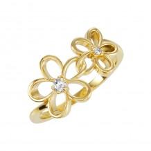 14k Yellow Gold Diamond Floral Fashion Ring