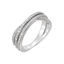 14k White Gold Diamond Criss Cross Ring