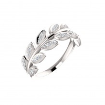 14k White Gold Diamond Leaf Fashion Ring
