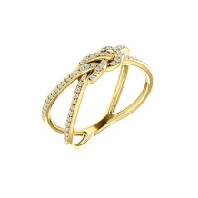 14k Yellow Gold Diamond Knot Fashion Ring