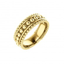 14k Yellow Gold Wide Beaded Fashion Ring