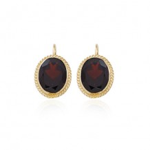 14K Yellow Gold & 10X8 Garnet Earrings