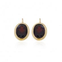 14K Yellow Gold & 10X8 Garnet Earrings