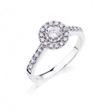10K White Gold 0.26ct Diamond And A 0.17ct Round Diamond Center Engagement Ring
