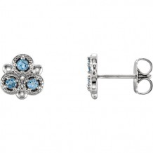Stuller 14k White Gold Aquamarine Three-Stone Earrings