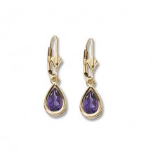 14K Yellow Gold 8X5 Amethyst Earrings