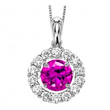 14k White Gold Treated Pink Diamond Rhythm Of Love Pendant
