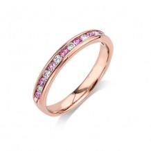 Camelot 14k Rose Gold Pink Sapphire and Diamond Wedding Band
