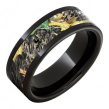 Jewelry Innovations Black Ceramic Pipe Cut Band with Mossy Oak