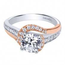 14K White and Pink Gold 0.37ct Diamond Engagement Ring
