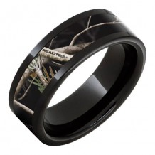 Jewelry Innovations Black Ceramic Pipe Cut Band with Realtree