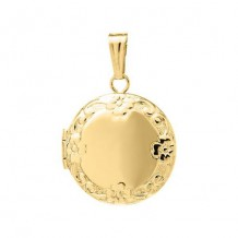 14K Yellow Gold embossed Round Child's Locket