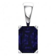 Stuller 14k  White Gold Chatham? Created Blue Sapphire Pendant
