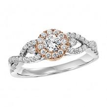14k White Gold 1/2ct Diamond Engagement Ring with 1/4ct Center Stone
