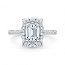 Shah Luxury 18k White Gold Diamond Carizza Semi Mount Engagement Ring to fit Emerald Center