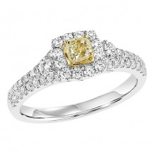 14k White Gold 7/8ct Diamond Engagement Ring with Yellow Center Stone