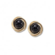 14K Yellow Gold Love Knot With 8mm Onyx Stud Earrings