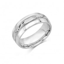 Camelot Sterling Silver Engraved Morris Wedding Band
