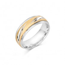 Camelot Sterling Silver & 10k White Gold Rogue Wedding Band