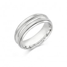 Camelot Sterling Silver & 10k White Gold Stafford Wedding Band