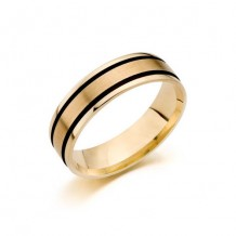 14K Yellow Gold Comfort Feel Engraved Men's Wedding Band