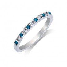 14K White Gold 0.17ct White & Blue Diamond Women's Wedding Band