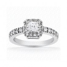 14k White Gold Diamond Semi-Mount Halo Engagement Ring