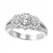 14k White Gold 1ct Diamond Engagement Ring with 1/2ct Center Stone