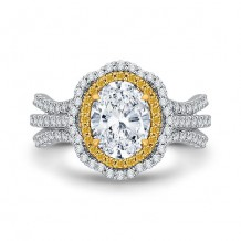 Shah Luxury 18k Two-Tone Gold Diamond Carizza Semi Mount Engagement Ring to fit Oval Center