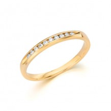 14K Yellow Gold 0.10ct Diamond Machine Set Women's Wedding Band