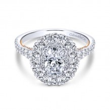 Gabriel & Co. 14k Two Tone Gold Embrace Double Halo Engagement Ring