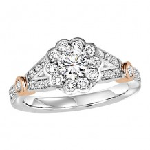 14k White Gold 1/2ct Diamond Engagement Ring with 1/2ct Center Stone