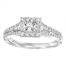 14k White Gold 1/2ct Diamond Engagement Ring with 3/8ct Center Stone