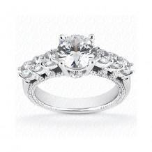14k White Gold Diamond Semi-Mount Fancy Engagement Ring