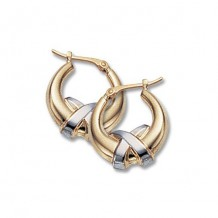 Carla 14K Two Tone Gold Small Criss Cross Hoop Earrings