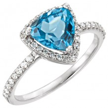 14k White Gold Stuller Blue Topaz and Diamond Fashion Ring