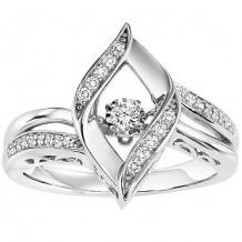 Sterling Silver 1/7ct Diamond Rhythm Of Love Ring