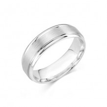 14K White Gold Comfort Feel Engraved Men's Wedding Band
