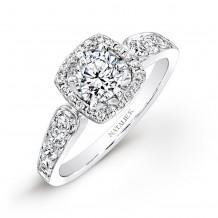 18k White Gold Pave Square Halo Diamond Engagement Ring