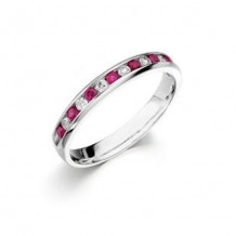 Camelot 14k White Gold Diamond and Ruby Vivid Wedding Band